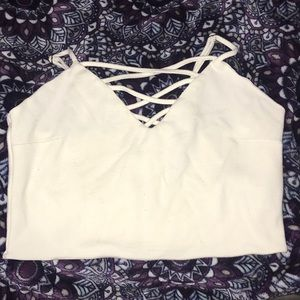 Super cropped tank top with cross detailing
